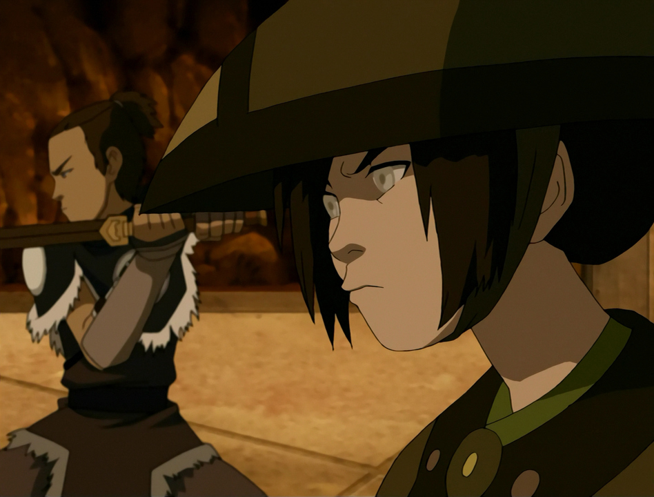 Toph and Sokka prepare for battle.