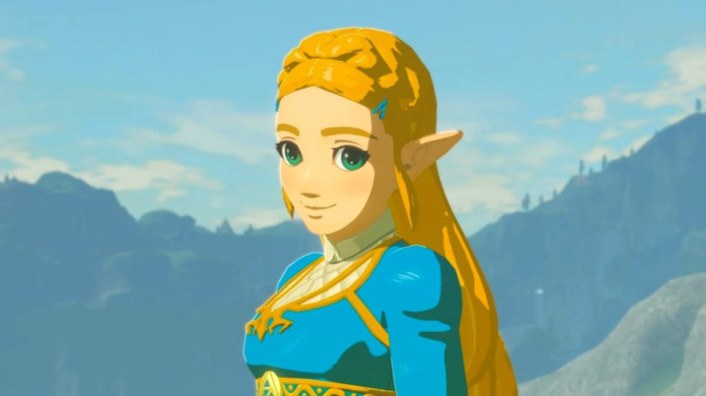 Princess Zelda blushing and looking into the camera.