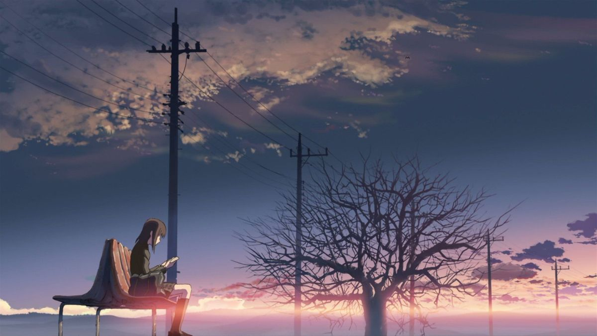 Anime girl sitting on bench. Pink and blue sunset. A tree with no leaves in the background.