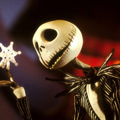 Jack Skellington, the lead of The Nightmare Before Christmas and his true love Sally dancing with pumpkins in the background.