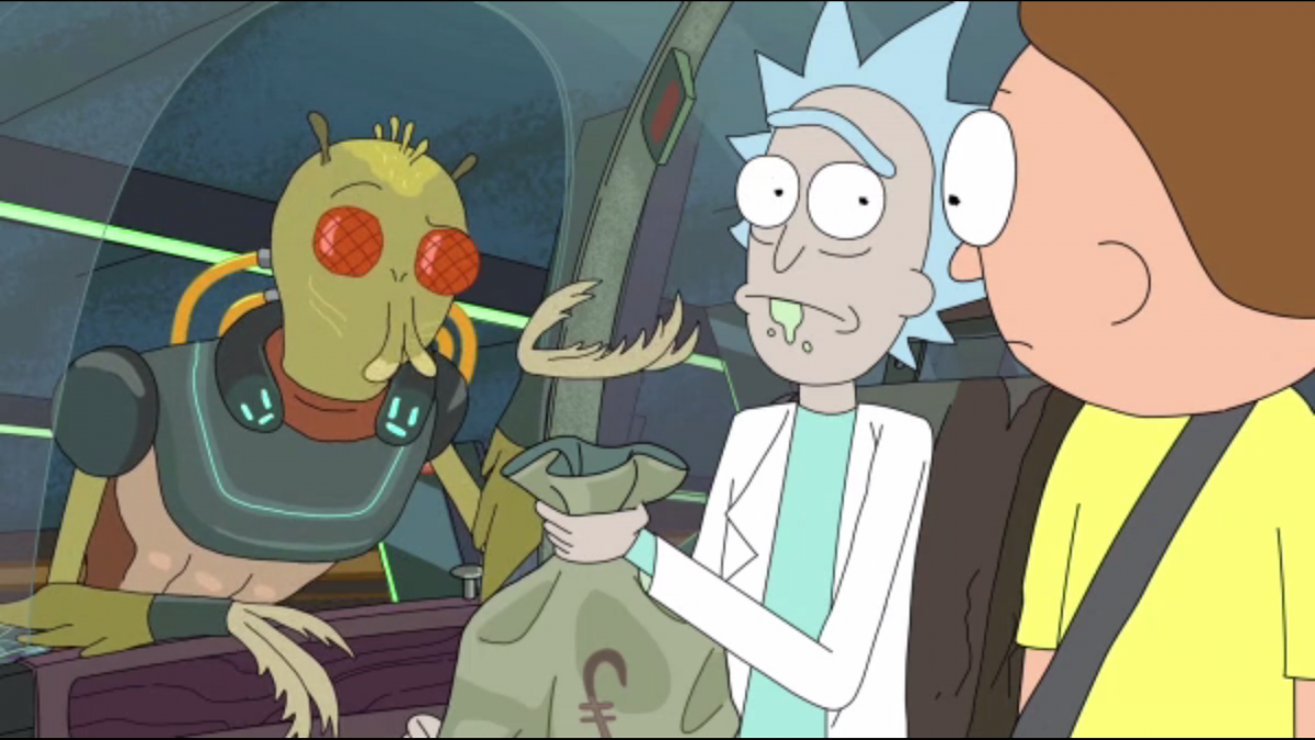 Rick selling a gun to alien assassin Krombopulous Michael and Morty disapproves.