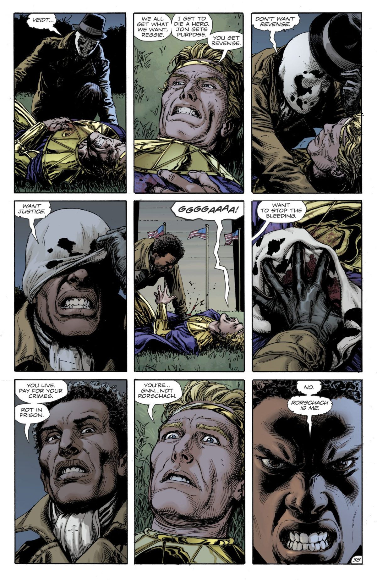 Doomsday Clock #12, Page #38, Rorshach holds down Ozymandias