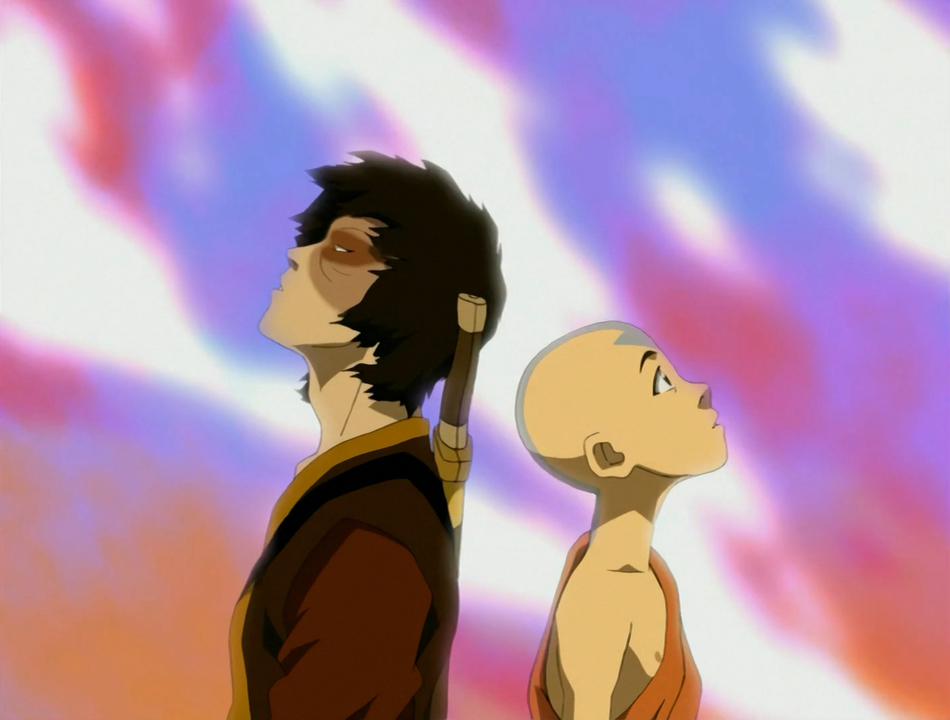 Zuko and Aang in a rainbow of fire.