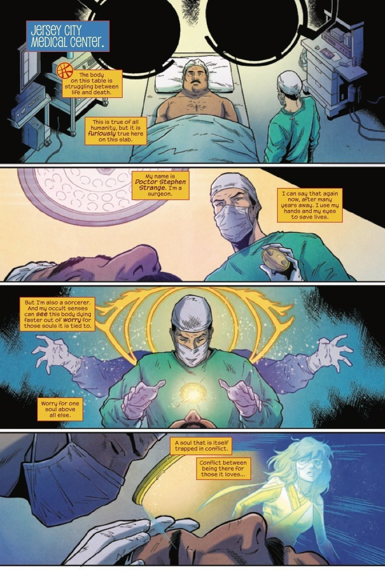 The Magnificent Ms Marvel #10: Page 3, Doctor Strange begins mystical surgery on Yusuf Khan.