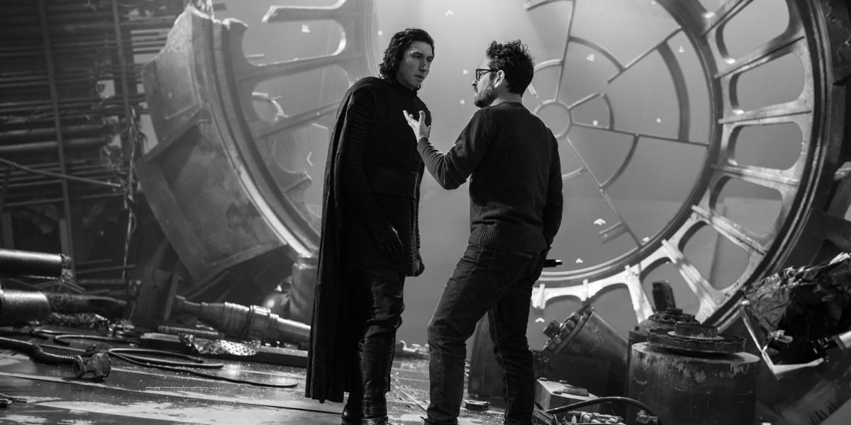 JJ Abrams on set, talking to Adam Driver who plays Kylo Ren.