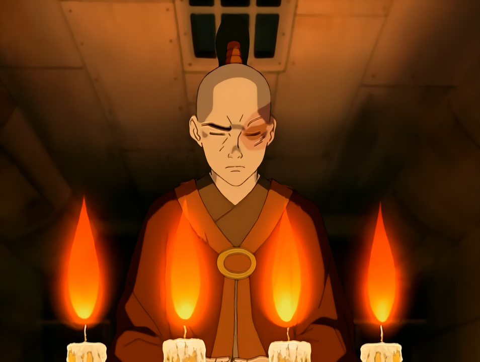 The character meditates with candles.