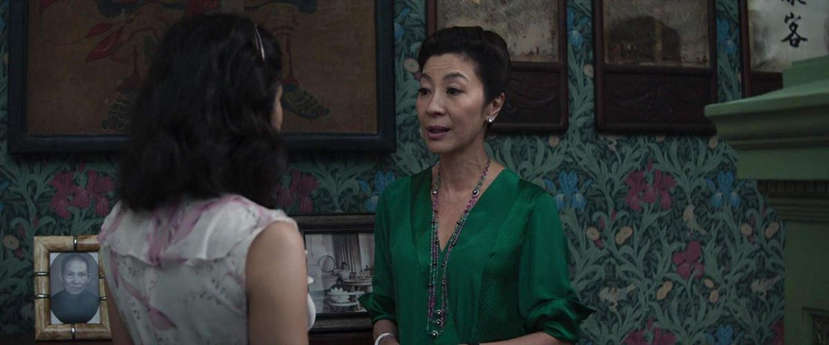 Michelle Yeoh and Constance Wu confront each other in Crazy Rich Asians