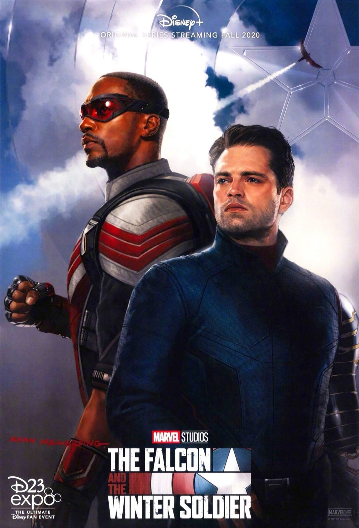 Marvel Phase 4: The Falcon and the Winter Soldier: Sam and Bucky stare off into the distance decked out in new costumes.