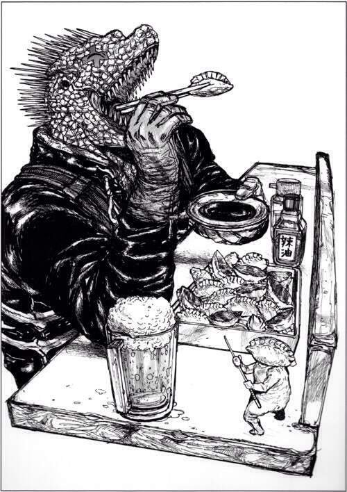 Kaiman enjoys a box of gyoza while Gyoza Man watches from the side on a cover page of Dorohedoro.