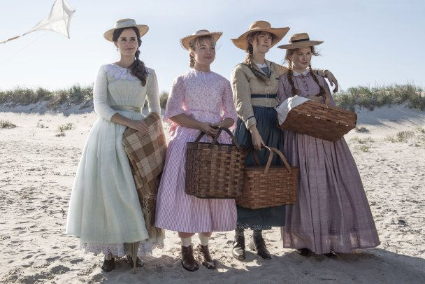 Little Women visiting the beach in their cute dresses and baskets.