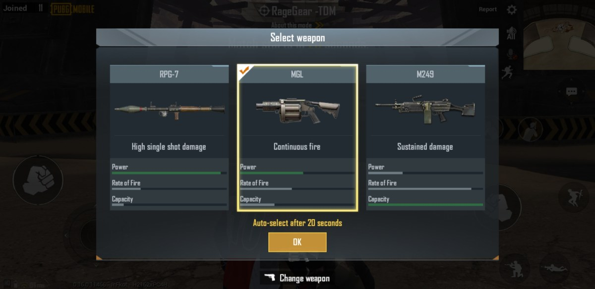 PUBG Mobile's TDM RageGear allows players to select one of three weapons.