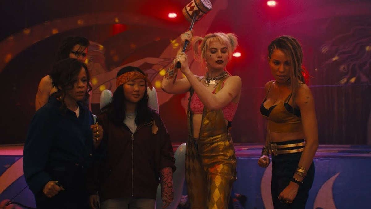 Harley Quinn sipping on a margarita in her upcoming film Birds of Prey.