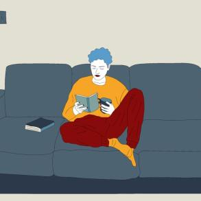 Drawing of a person sitting on their couch reading with coffee.