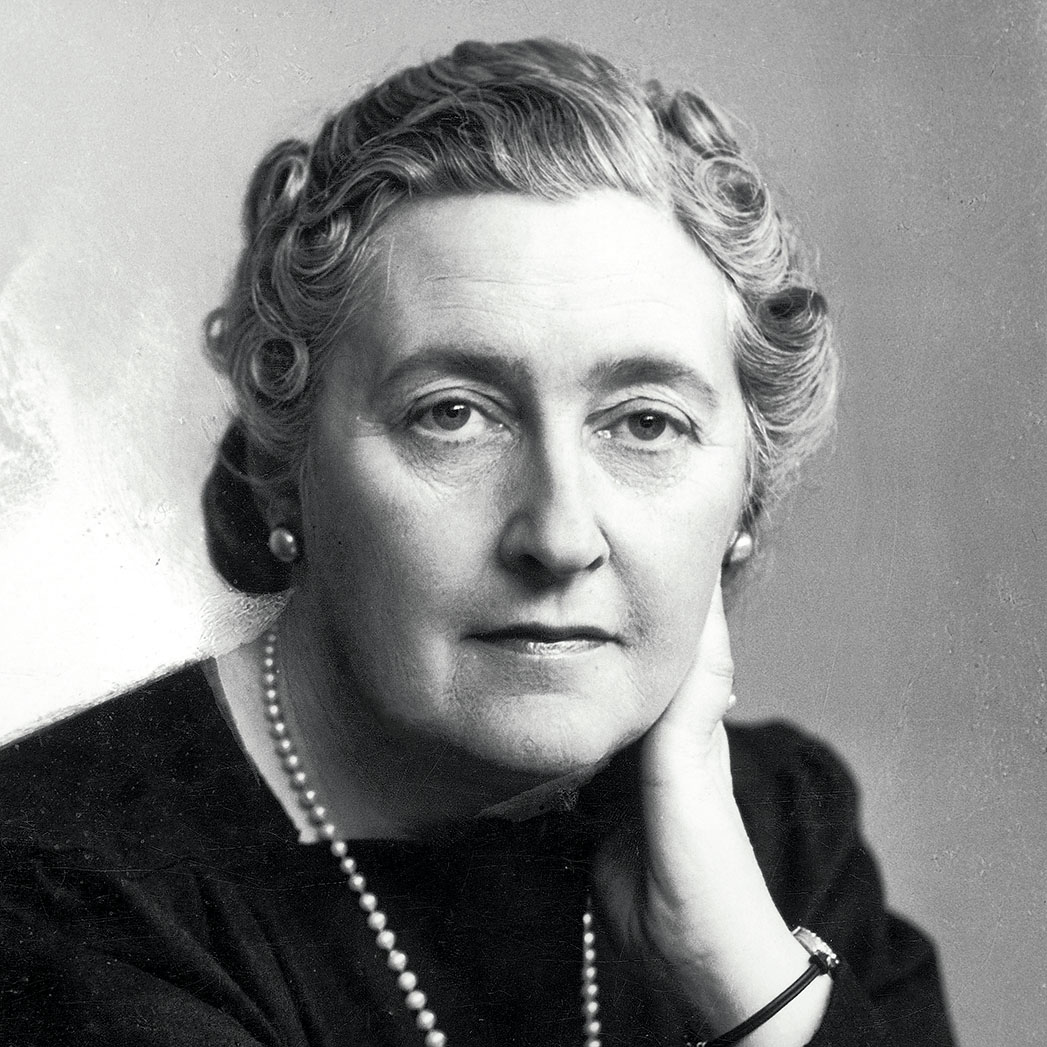 Portrait of Agatha Christie, creator of characters like Hercule Poirot and Miss Marple and inspiration for The Truants.