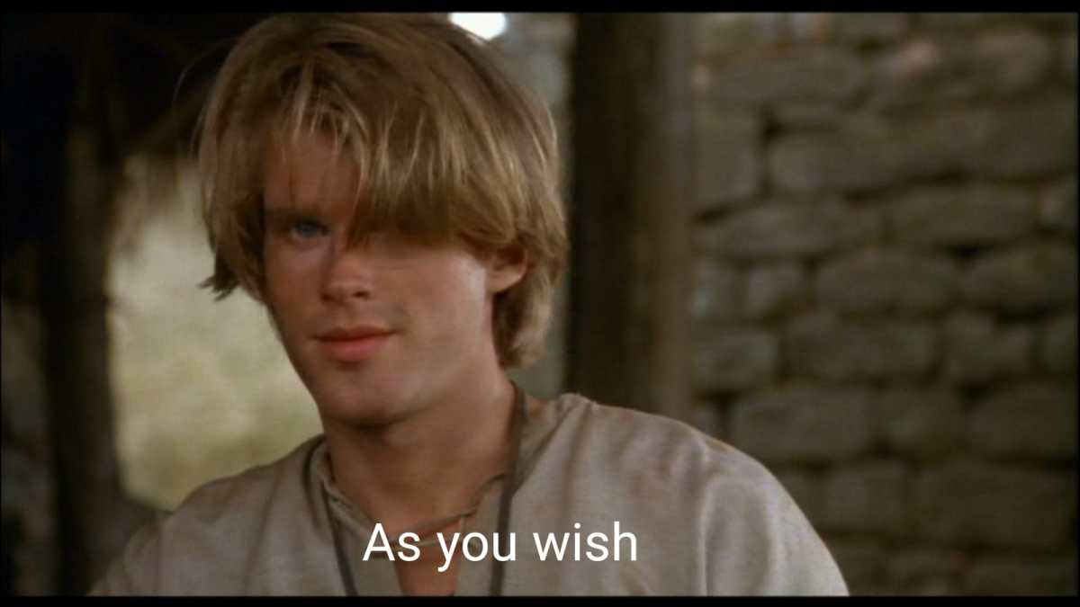 "Westley, delivering his iconic phrase ""as you wish."""