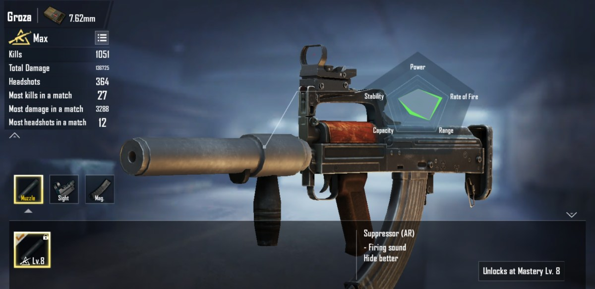 The loadout feature displays the capabilities of the Groza AR rifle.