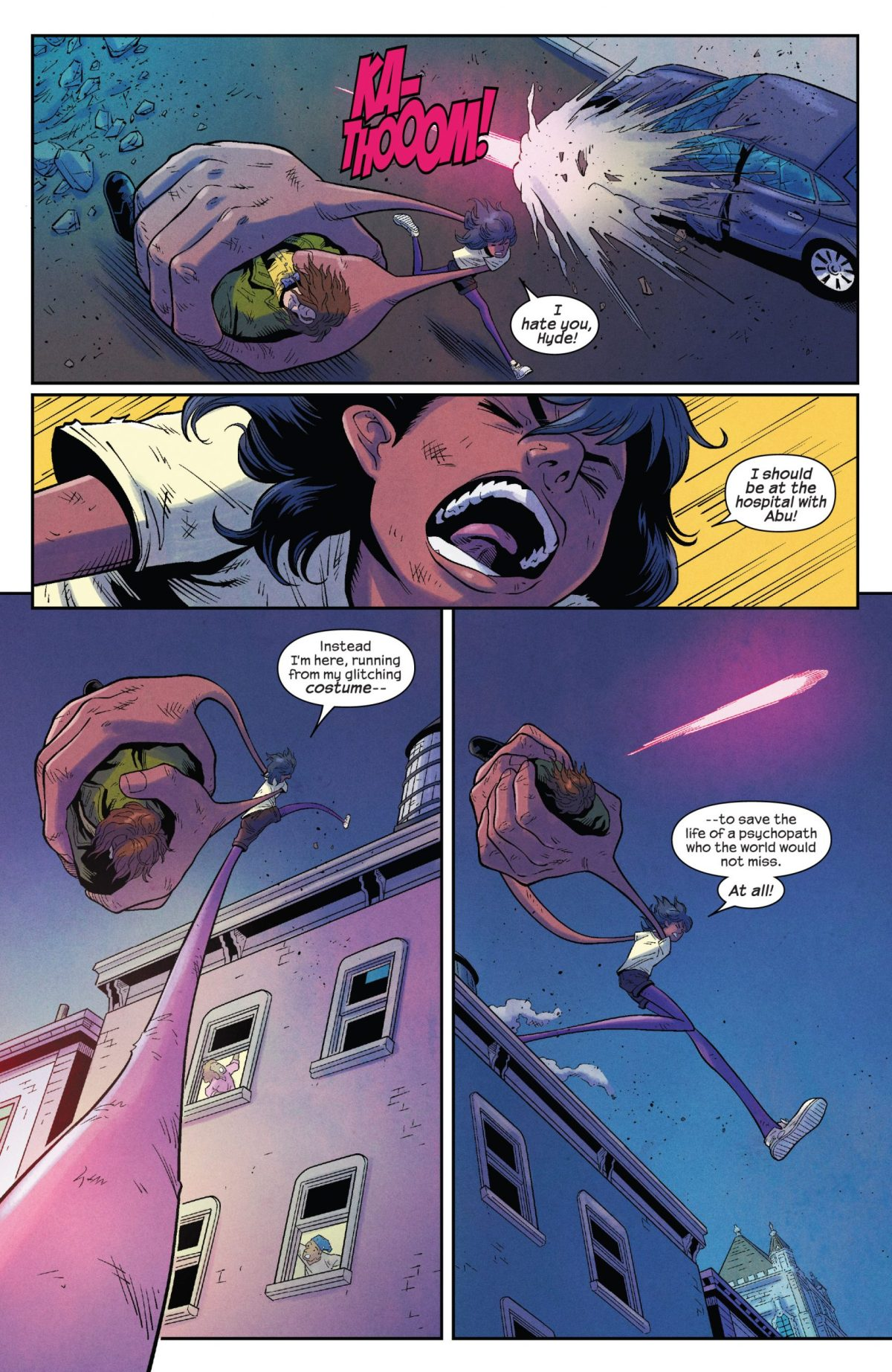 The Magnificent Ms Marvel #11: Page 8, Kamala runs through the streets of Jersey City carrying Hyde as Stormranger shoots at them.