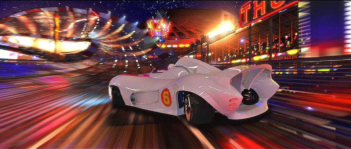 The Mach 6 on a race track from the live action movie.