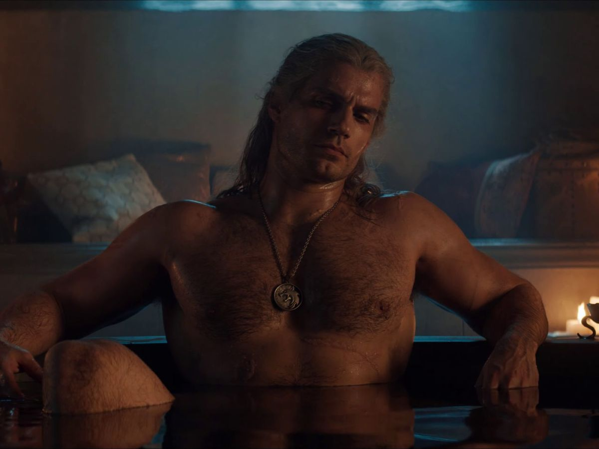 The Witcher, Geralt of Rivia, bathing with Yennifer.