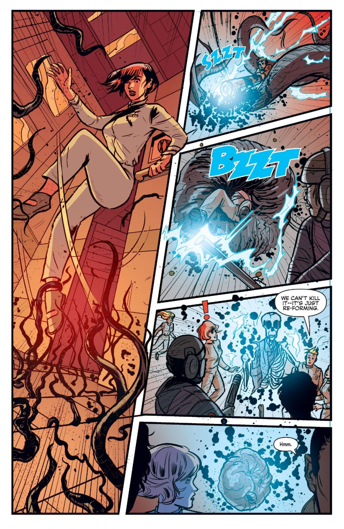 The killer alien begins his attack by devouring a crew member in Josie and the Pussycats in Space #3.