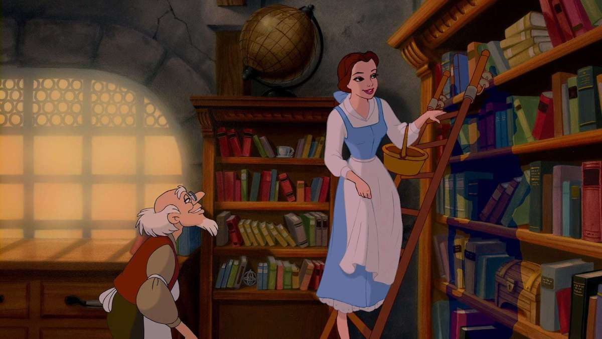 Belle at the library, emphasizing the presence of female readers and possibly writers.