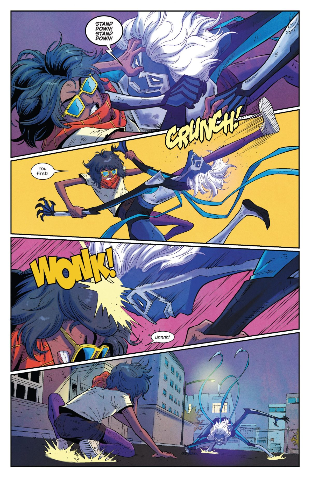 The Magnificent Ms Marvel #11: Page 14, Kamala kicks Stormranger in the face and Stormranger headbutts her.