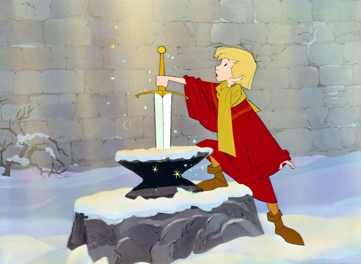 Arthur pulling Excalibur from the stone in Disneys classic Sword in the Stone.