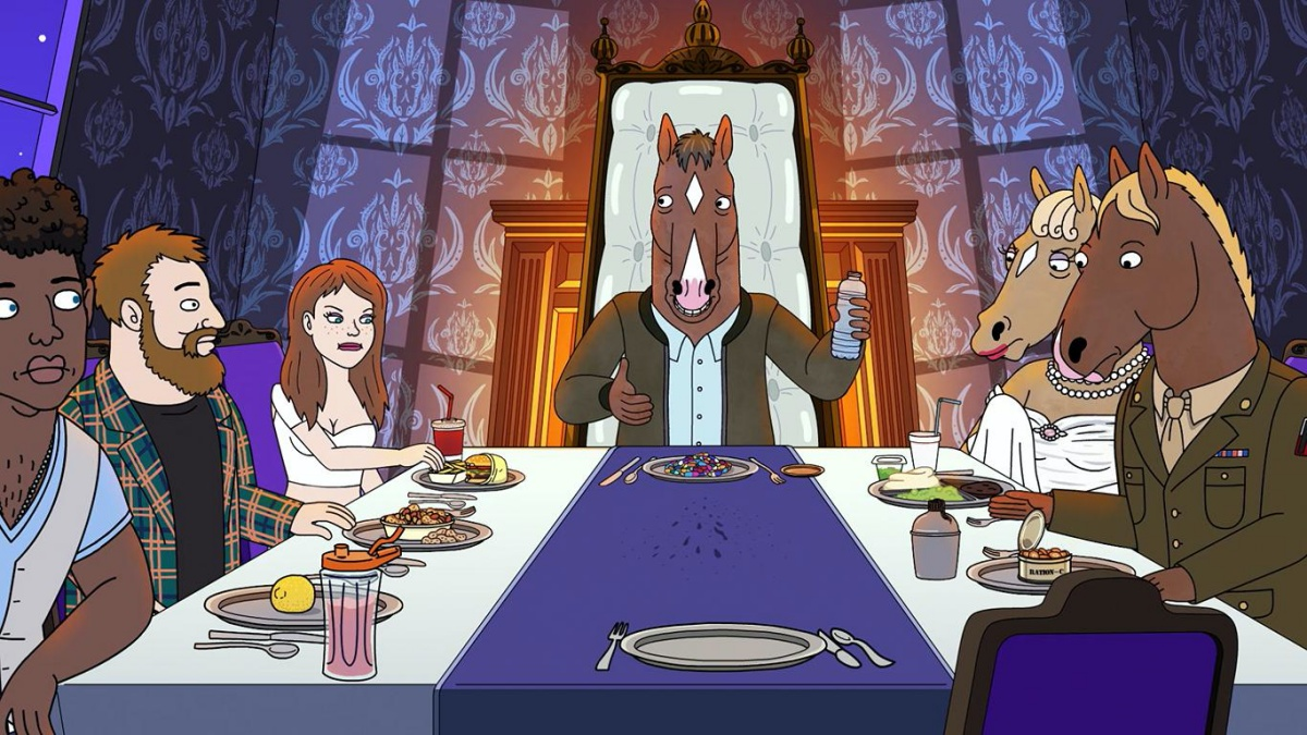 """From """"The View From Halfway Down"""", Bojack sitting at a dining table with the decided characters of Bojack Horseman."""