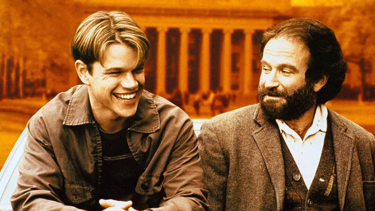 Matt Damon and Robin Williams in the film Good Will Hunting.