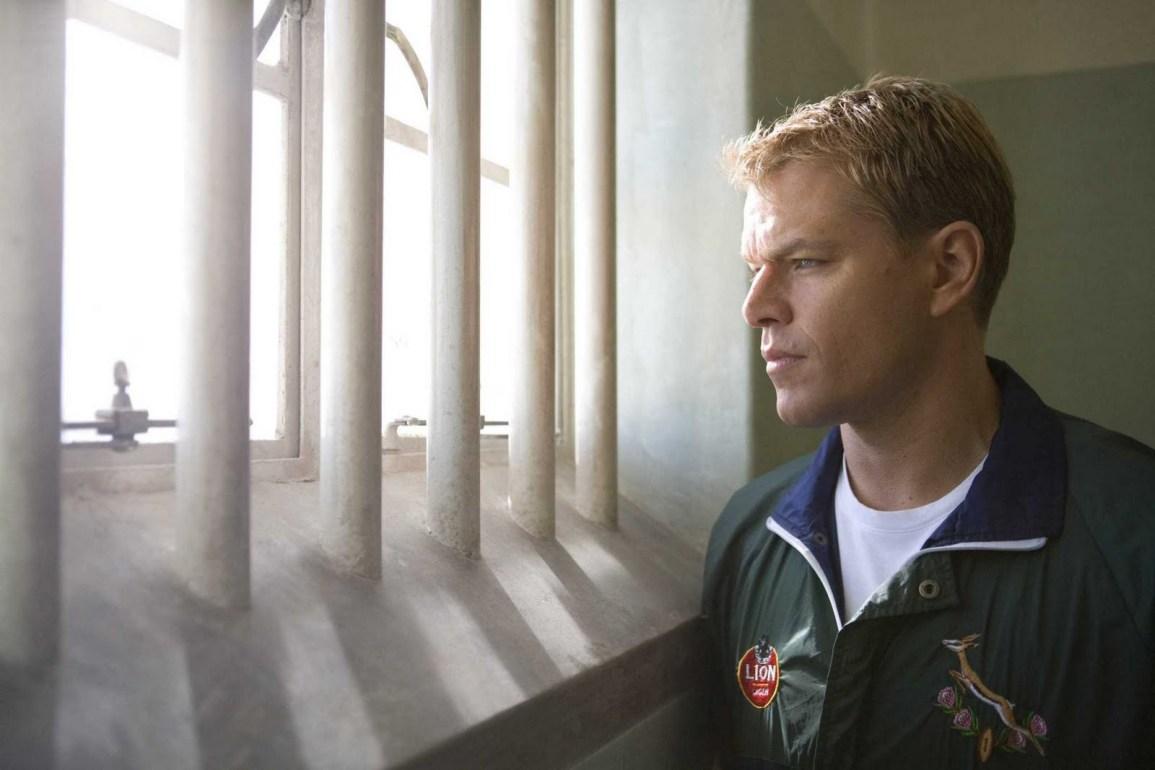 Matt Damon as the captain of the South Africa rugby team in Nelson Mandela's jail cell.