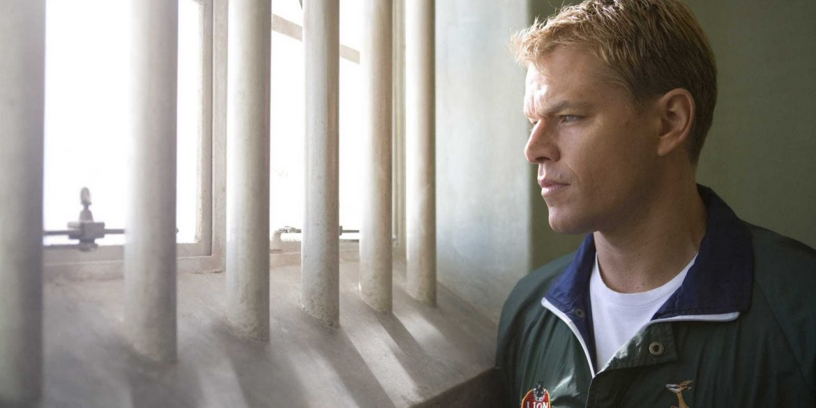 Matt Damon as the captain of the South Africa rugby team in Nelson Mandela's jail cell.