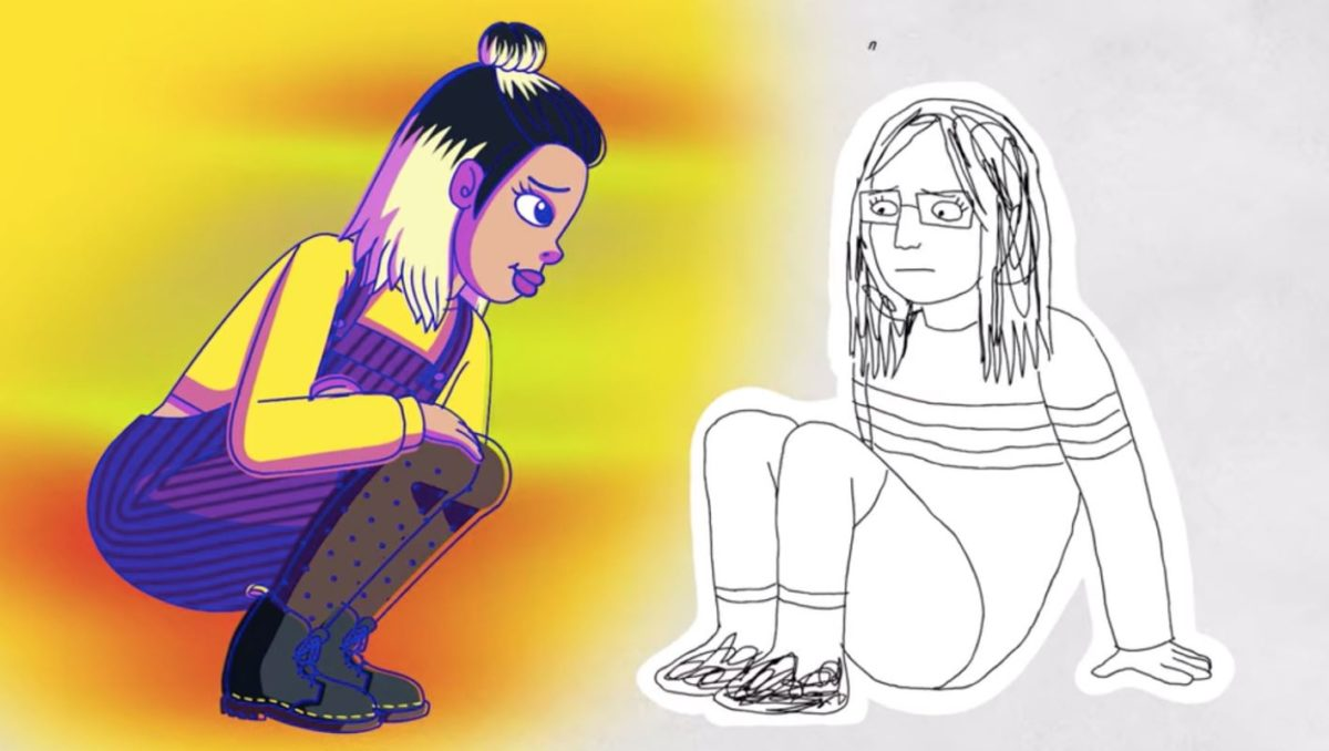 Diane depicted as a scribbly drawing encounters the colorful and fully rendered Ivy Tran character.