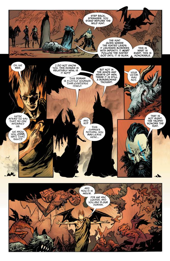 Lucifer #18, Page #4: Lucifer interupts the Hunt