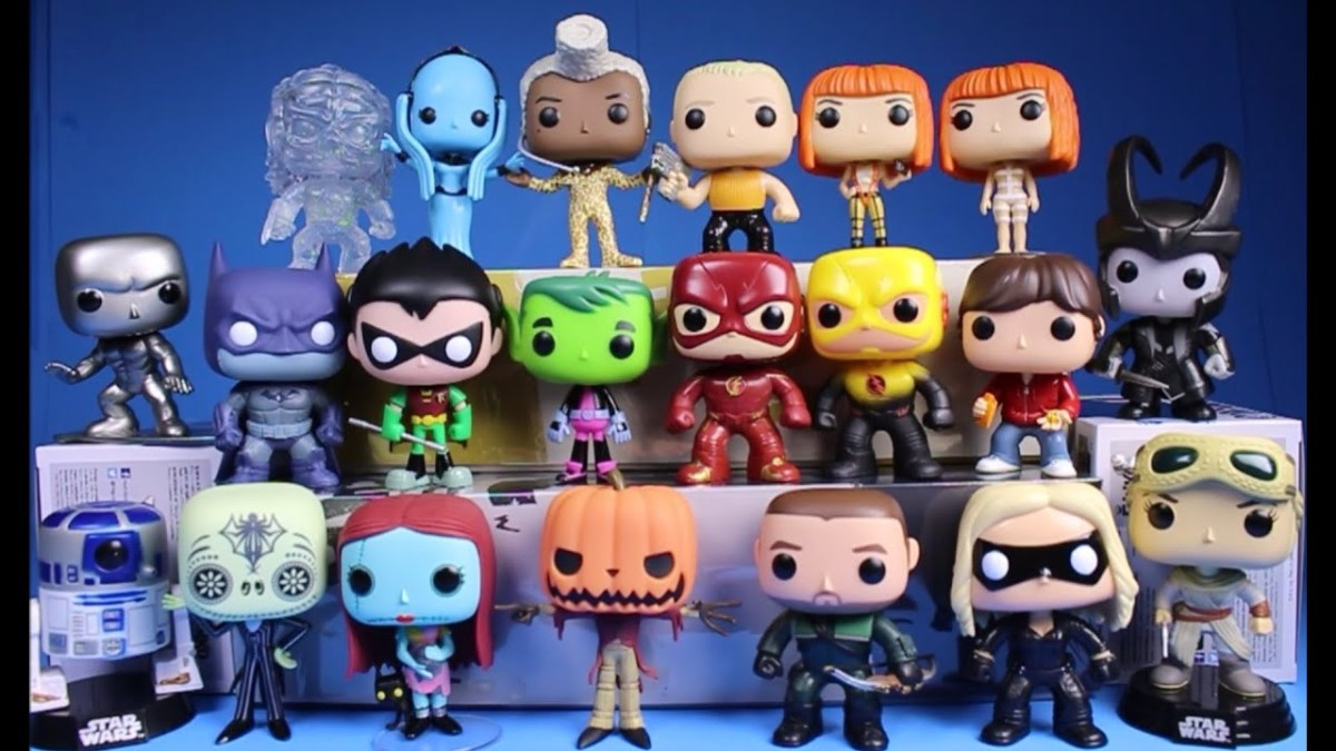A collection of Funko Pop art toy figures.