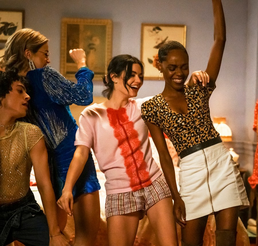 """Katy Keene -- """"Chapter Four: Here Comes the Sun"""" -- Image Number: KK104B_1108bc.jpg -- Pictured (L-R): Jonny Beauchamp as Jorge Lopez, Julia Chan as Pepper Smith, Lucy Hale as Katy Keene and Ashleigh Murray as Josie McCoy -- Photo: David Giesbrecht/The CW -- © 2020 The CW Network, LLC. All Rights Reserved."""