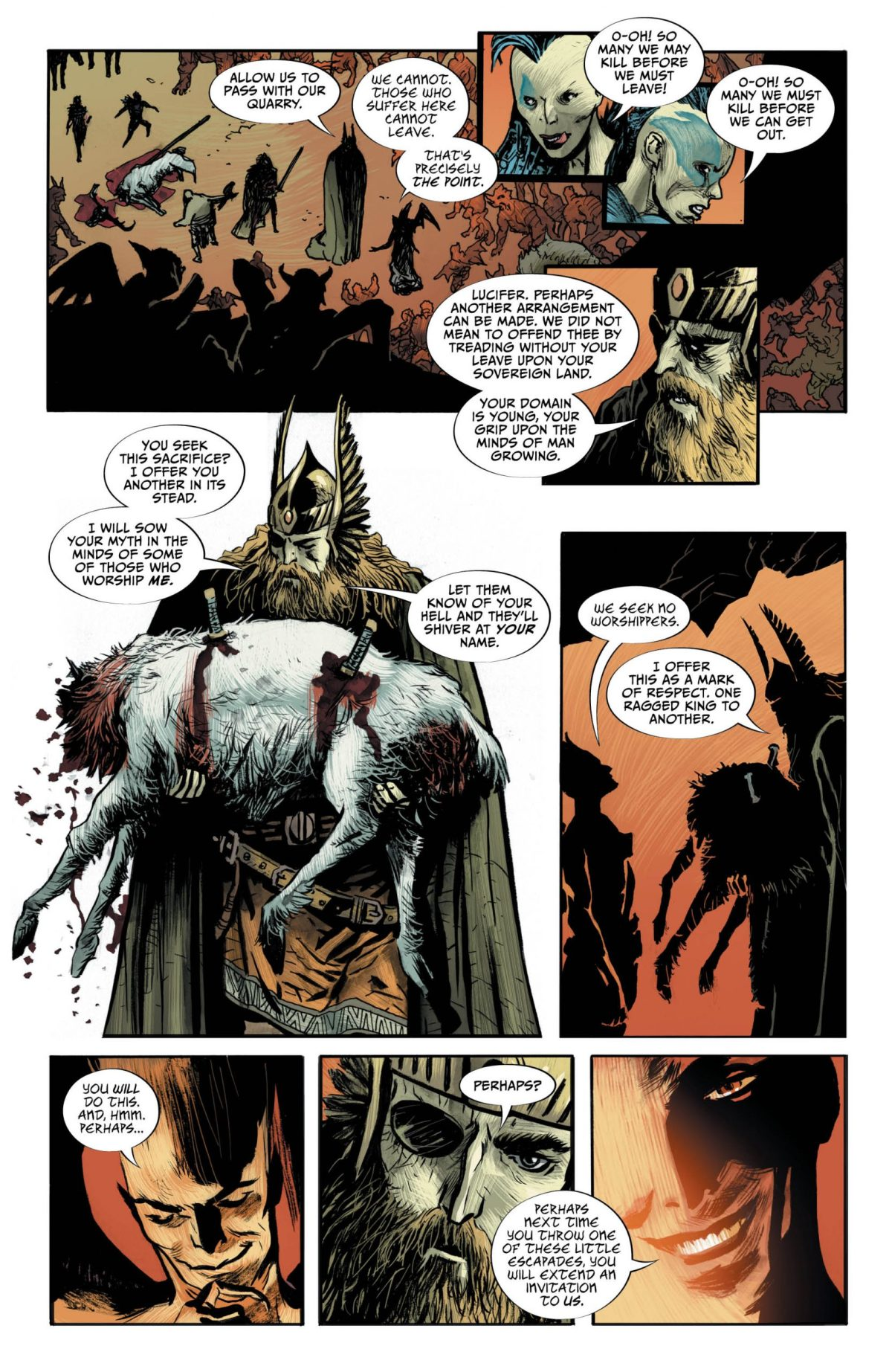 Lucifer #18, Page #5: Lucifer meets Odin for the first time