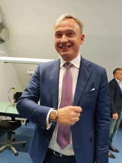 Nicolas Rudaz, COO Franck Muller and his Franck Muller watch