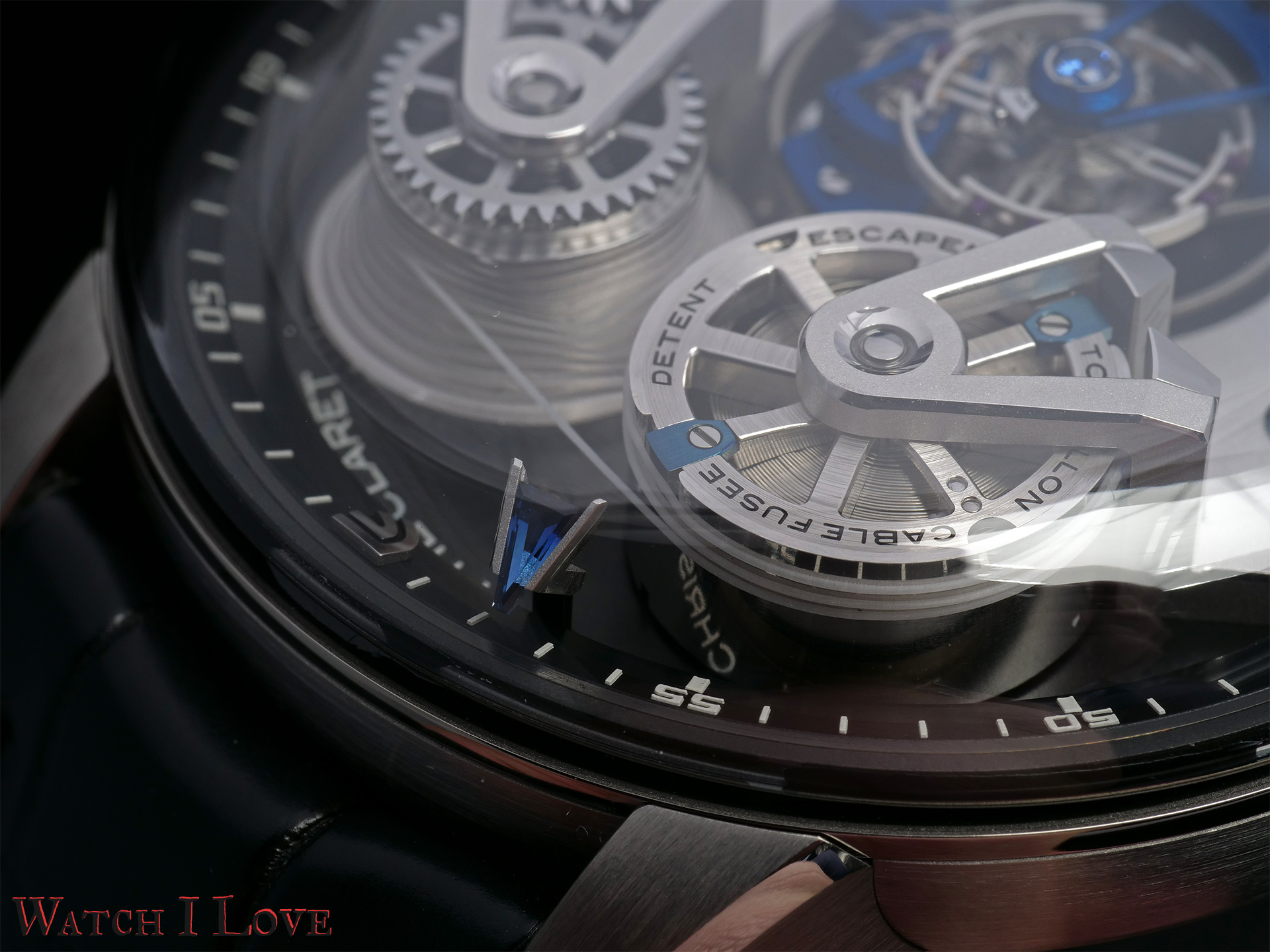 Detail of the cable fusee and minute's hand