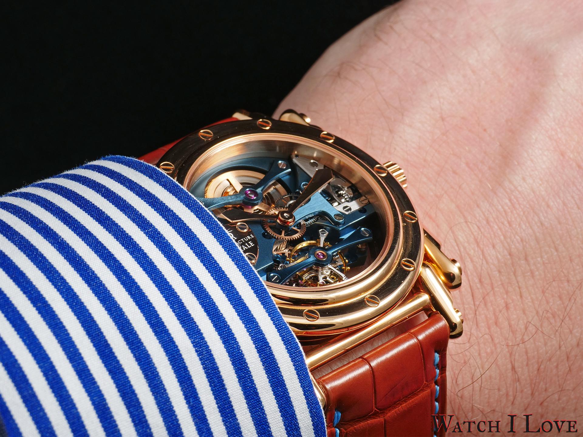 Androgyne Light Blue Rose Gold wrist view
