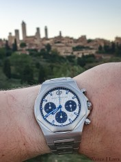 With the intriguing architecture of San Gimignano on the background