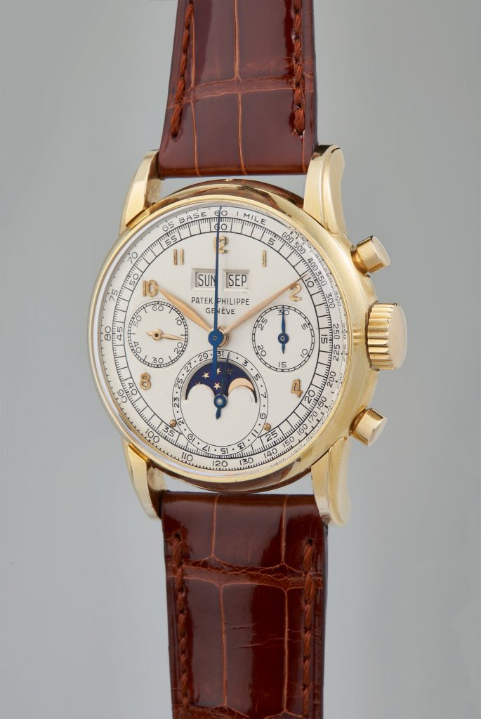 Patek Philippe, Reference 2499 A very rare, historically important, and possibly unique perpetual calendar chronograph wristwatch in 18 karat yellow gold, circa 1951