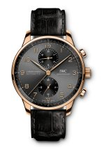 IWC Portugieser Chronograph Ref. IW371610: 18-carat 5N gold case, slate-coloured dial, gold-plated hands, 18-carat gold appliqués, black alligator leather strap by Santoni.