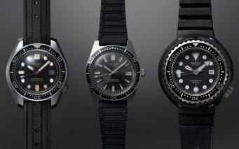 Three Seiko diver's watches that made history: 1968 Hi-beat Diver's 300m, 1965 62MAS 150m, 1975 Professional Diver's 600m