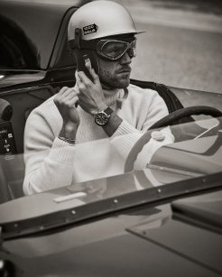 Ben Dahlhaus wearing the Mille Miglia GTS Azzurro Chrono before the start of the race (c) Adam Fussell