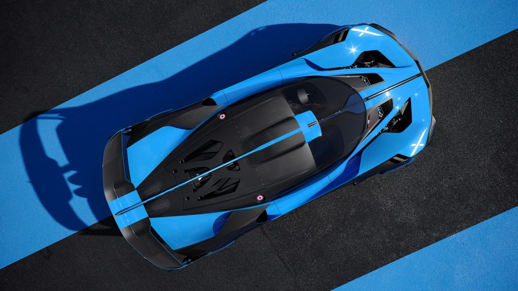 Bugatti Bolide static - dynamic top view