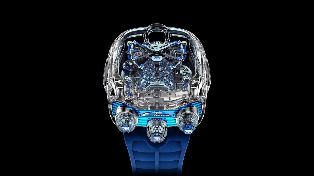 "The Jacob & Co. x Bugatti Chiron Tourbillon Limited Edition ""Sapphire Crystal"" in blue."