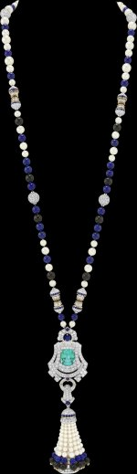 Pompon Leila transformable long necklace watch with detachable clip White gold, yellow gold, platinum, one green cushion-cut tourmaline of 11.87 carats, sapphires, black spinels, onyx, lapis lazuli, white cultured pearls, white mother-of-pearl, diamonds, quartz movement