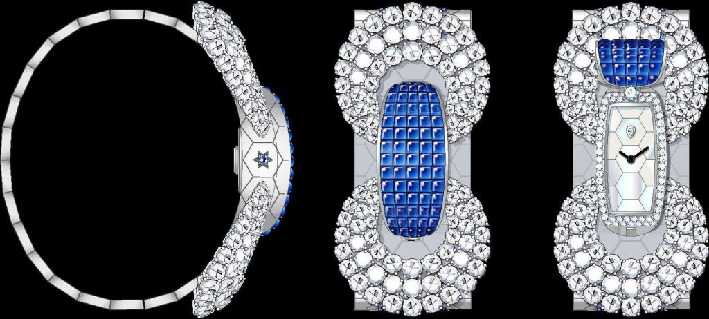 Ludo Secret watch White gold, Traditional Mystery Set buff-topped sapphires, sapphires, white mother-of-pearl, diamonds, quartz movement