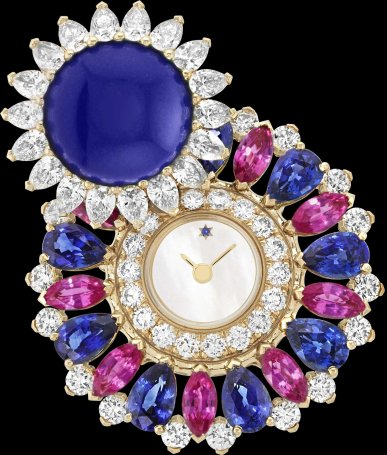 Ludo Secret watch Yellow gold, blue and pink sapphires, lapis lazuli, white mother-of-pearl, diamonds, quartz movement