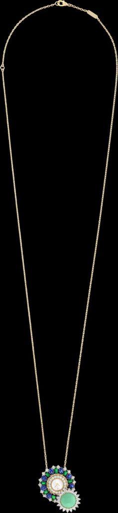 Ludo Secret watch Yellow gold, sapphires, emeralds, chrysoprase, white mother-of-pearl, diamonds, quartz movement